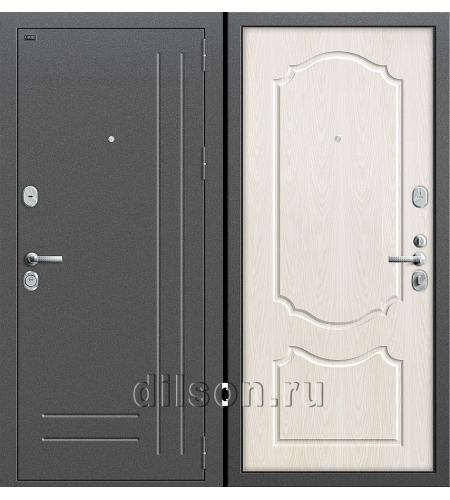 Дверь входная металлическая «Р2-210» Антик Серебро/Беленый Дуб