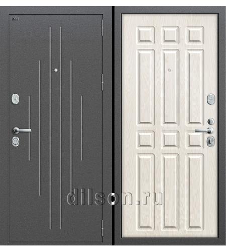 Дверь входная металлическая «Р2-215» Антик Серебро/Беленый Дуб