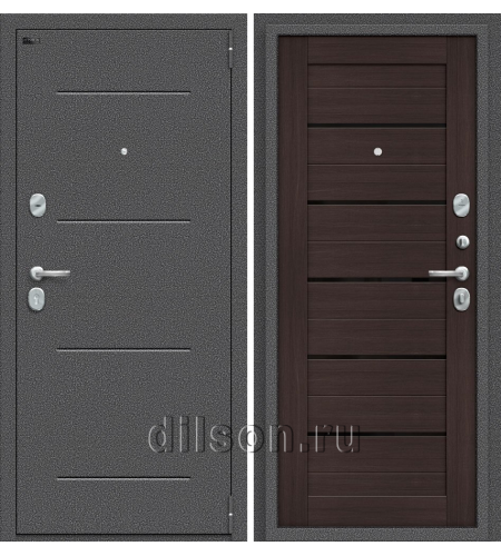 Дверь входная металлическая «Porta S 104.П22» Антик Серебро/Wenge Veralinga
