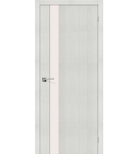 Дверь межкомнатная из эко шпона «Порта-11»  Bianco Veralinga остекление Триплекс