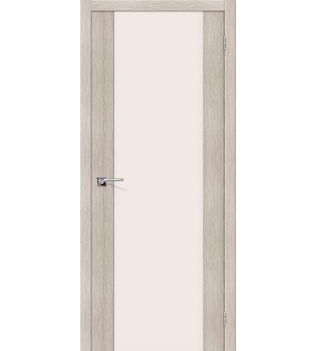 Дверь межкомнатная из эко шпона «Порта-13»  Cappuccino Veralinga остекление Триплекс
