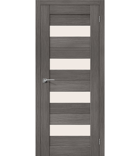 Дверь межкомнатная из эко шпона «Порта-23»  Grey Veralinga остекление Сатинато белое