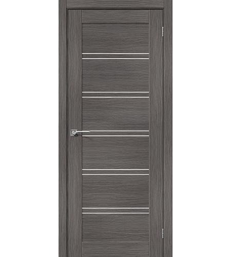 Дверь межкомнатная из эко шпона «Порта-28»  Grey Veralinga остекление Сатинато белое