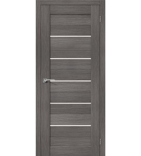 Дверь межкомнатная из эко шпона «Порта-22»  Grey Veralinga остекление Сатинато белое