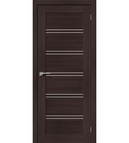 Дверь межкомнатная из эко шпона «Порта-28»  Wenge Veralinga остекление Сатинато белое