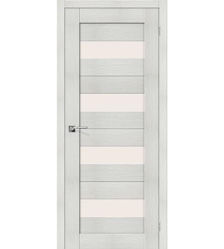 Дверь межкомнатная из эко шпона «Порта-23»  Bianco Veralinga остекление Сатинато белое