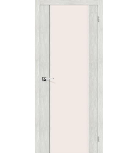 Дверь межкомнатная из эко шпона «Порта-13»  Bianco Veralinga остекление Триплекс