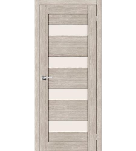 Дверь межкомнатная из эко шпона «Порта-23»  Cappuccino Veralinga остекление Сатинато белое