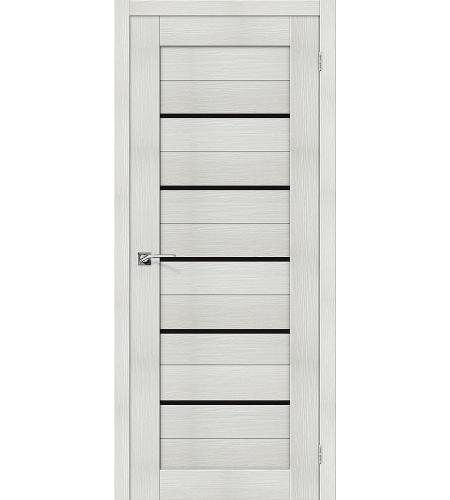 Дверь межкомнатная из эко шпона «Порта-22»  Bianco Veralinga/Black Star остекление Lacobel