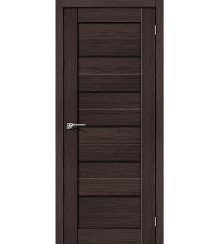 Дверь межкомнатная из эко шпона «Порта-22»  Wenge Veralinga/Black Star остекление Lacobel