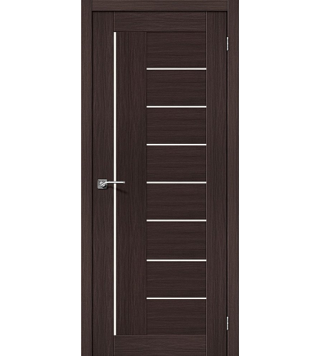 Дверь межкомнатная из эко шпона «Порта-29»  Wenge Veralinga/Magic Fog остекление Сатинато белое