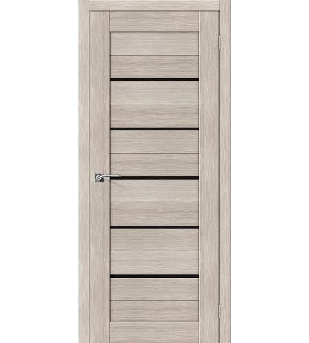 Дверь межкомнатная из эко шпона «Порта-22»  Cappuccino Veralinga/Black Star остекление Lacobel