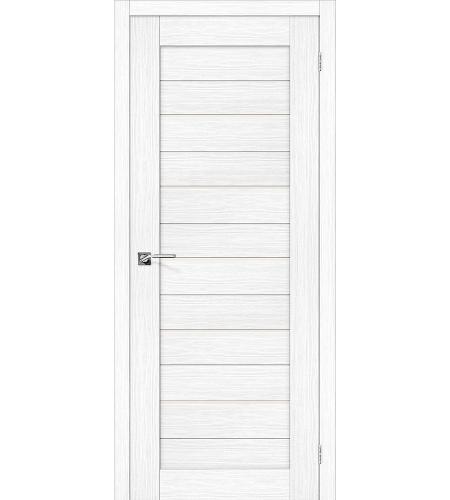 Дверь межкомнатная из эко шпона «Порта-22»  Snow Veralinga остекление Сатинато белое