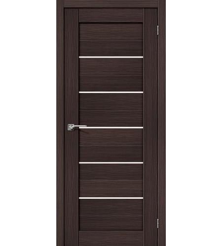 Дверь межкомнатная из эко шпона «Порта-22»  Wenge Veralinga/Magic Fog остекление Сатинато белое