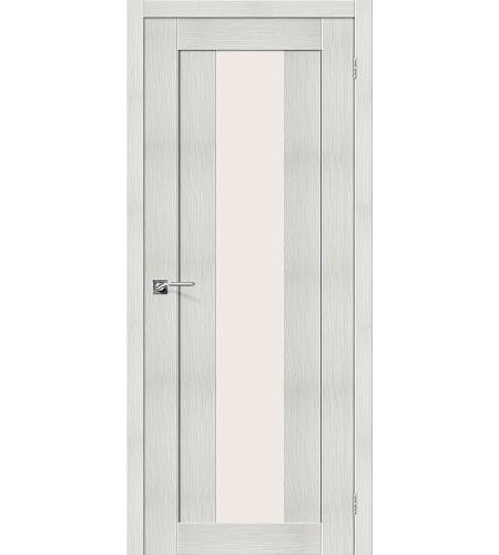 Дверь межкомнатная из эко шпона «Порта-25 alu»  Bianco Veralinga остекление Сатинато белое