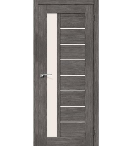 Дверь межкомнатная из эко шпона «Порта-27»  Grey Veralinga остекление Сатинато белое