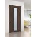 Дверь межкомнатная из эко шпона «Порта-25 alu»  Wenge Veralinga остекление Сатинато белое