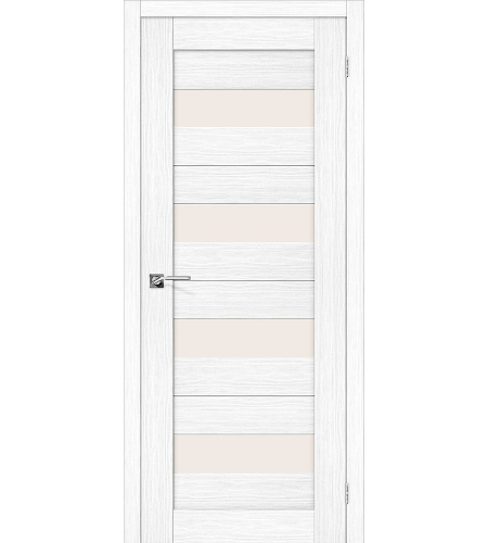 Дверь межкомнатная из эко шпона «Порта-23»  Snow Veralinga остекление Сатинато белое