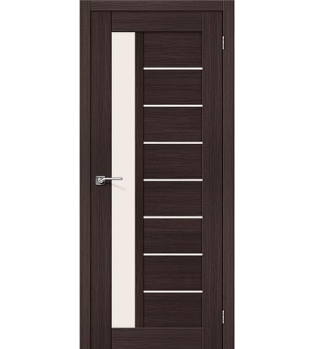 Дверь межкомнатная из эко шпона «Порта-27»  Wenge Veralinga остекление Сатинато белое