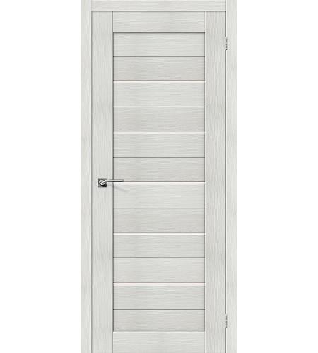 Дверь межкомнатная из эко шпона «Порта-22»  Bianco Veralinga/Magic Fog остекление Сатинато белое