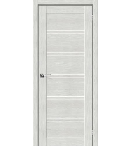 Дверь межкомнатная из эко шпона «Порта-28»  Bianco Veralinga остекление Сатинато белое
