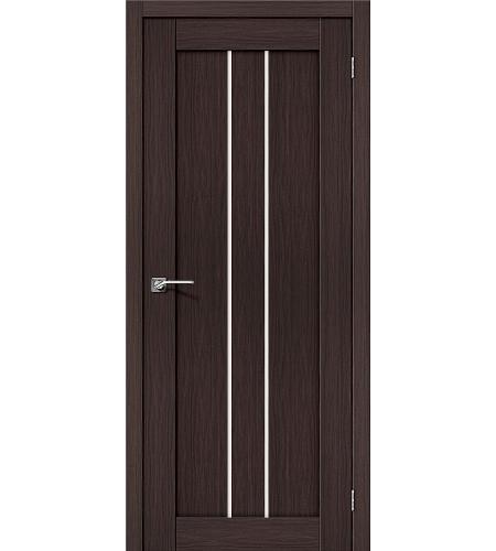 Дверь межкомнатная из эко шпона «Порта-24»  Wenge Veralinga остекление Сатинато белое