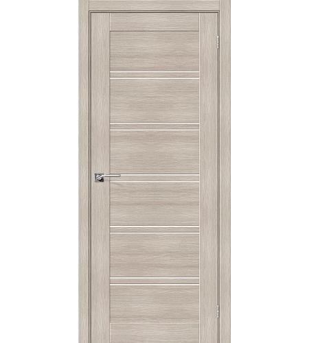 Дверь межкомнатная из эко шпона «Порта-28»  Cappuccino Veralinga остекление Сатинато белое