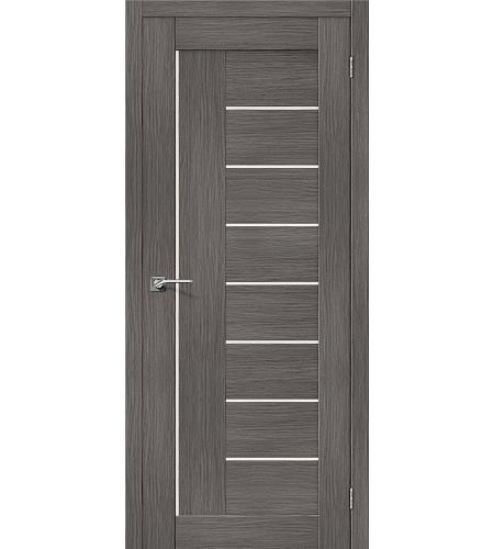 Дверь межкомнатная из эко шпона «Порта-29»  Grey Veralinga остекление Сатинато белое