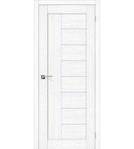 Дверь межкомнатная из эко шпона «Порта-29»  Snow Veralinga остекление Сатинато белое