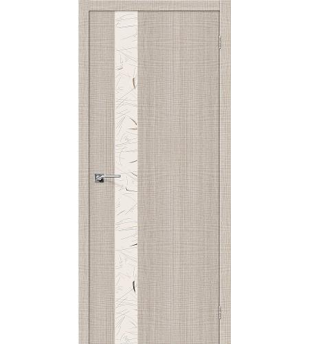 Дверь межкомнатная из эко шпона «Порта-51 SA »  Cappuccino Crosscut остекление зеркало художественное