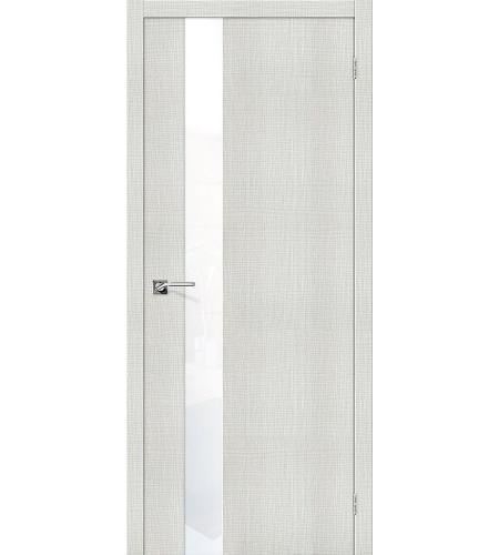 Дверь межкомнатная из эко шпона «Порта-51 WW»  Bianco Crosscut остекление Lacobel
