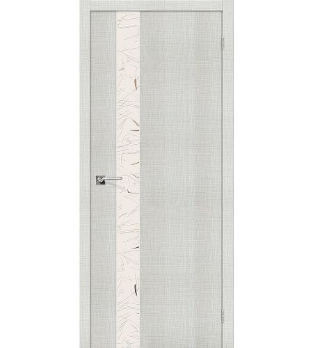 Дверь межкомнатная из эко шпона «Порта-51 SA»  Bianco Crosscut остекление зеркало художественное