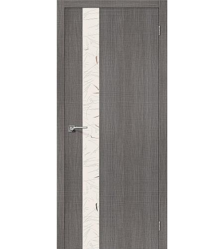 Дверь межкомнатная из эко шпона «Порта-51 SA»  Grey Crosscut остекление зеркало художественное
