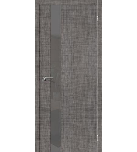 Дверь межкомнатная из эко шпона «Порта-51 Smoke»  Grey Crosscut остекление Lacobel