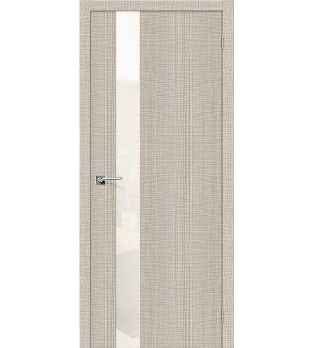 Дверь межкомнатная из эко шпона «Порта-51 WР»  Cappuccino Crosscut остекление Lacobel
