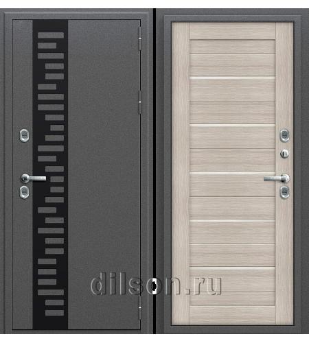 Дверь входная металлическая «Термо 222»  Антик Серебро/Cappuccino Veralinga