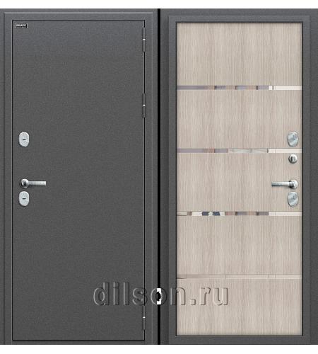 Дверь входная металлическая «Термо 204»  Антик Серебро/Cappuccino Veralinga
