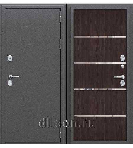 Дверь входная металлическая «Термо 204»  Антик Серебро/Wenge Veralinga